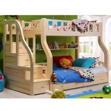 Bed With Pull Out Bed Double Deck With Pull Out Bed Nature Pine Wood Bed Frame 3