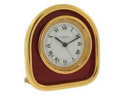 desk clock cartier enamel desk clock in gold plate 505317