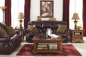 Ashley Furniture Side Tables Living Room Glamorous Leather Couch Red Carpet In Living Room