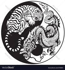 yin yang and tiger black white royalty free vector