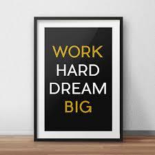 Trending Home Decor Work Hard Dream Big Black Yellow Sports Wall Decor