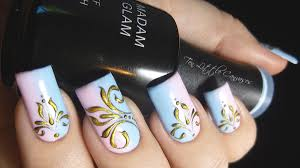 review and new mani madam glam gel polish with antique gold design