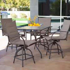 Bar Height Patio Set With Swivel Chairs Black Polished Cast Aluminum Dining Table Chairs With Bar Height