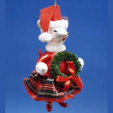 de carlini mouse with wreath italian glass christmas ornament