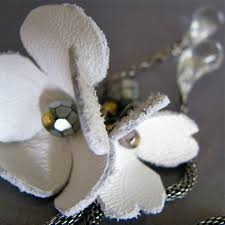 leather flower necklace images Pure romantic necklace with white hand cut leather flowers jpg