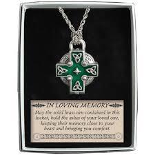 ashes locket memorial locket necklace celtic cross new ash urn inside in loving