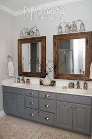Bathroom Furniture Wood Painted Bathroom Cabinets Gray And Brown Color Scheme Decorating