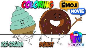 the emoji movie coloring pages ice cream and donut emoji