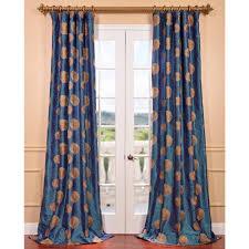 zen garden iridescent blue embroidered faux silk curtain