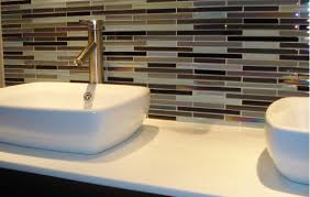 triple tone glass bathroom backsplash tile with white rectangle