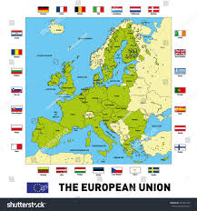 Europe Capitals Map by Vector Highly Detailed Political Map European Stock Vector