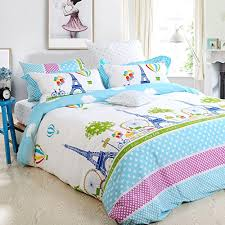 Girls Bedding Sets Queen by Amazon Com Fadfay Home Textile Girls Paris Eiffel Tower Bedding