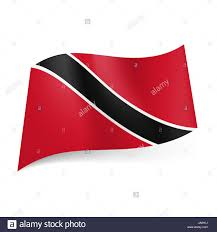 Blue White And Black Flag National Flag Of Trinidad And Tobago Black Diagonal Stripe With