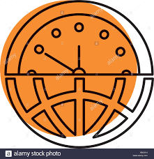 half globe plus half clock meaning management stock vector