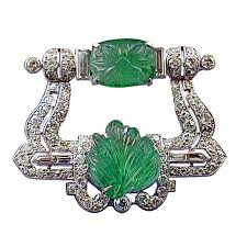 cartier london art deco carved emerald and diamond brooch