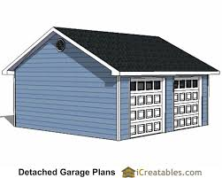3 Car Detached Garage Plans by 22x22 2 Car 2 Door Detached Garage Eve Over Door Plans