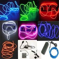 2 3mm 5m led neon light 12v flexible el wire led strip light