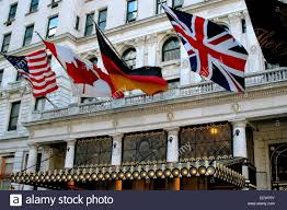 new york city american canadian german and british flags fly