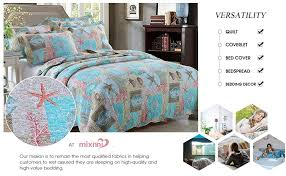 Seashell Queen Comforter Set Amazon Com Queen Full Beach Theme 3 Piece Cotton Bed Quilt Set