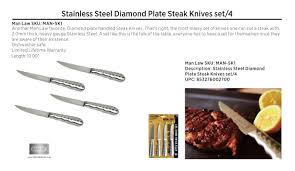 amazon com stainless steel diamond plate steak knives set of 4