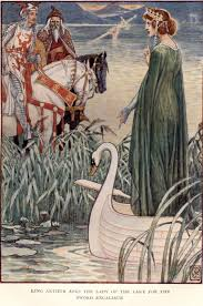 king arthur asks the lady of the lake for the sword excalibur art