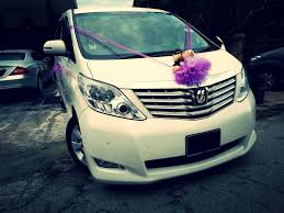 alphard wee morning purple decorations bridal car car