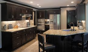 Dark Kitchen Cabinets With Backsplash Traditional Dark Woodgolden Kitchen Cherry Kitchen Cabinets These