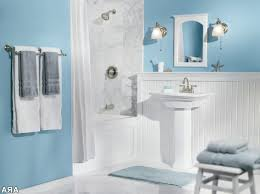 Black Bathroom Decorating Ideas by Light Blue Bathroom Decor White Stained Wooden Frame Wall Mirror