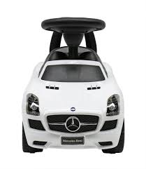 mercedes white liscensed mercedes benz push ride on car for kids baby racer white