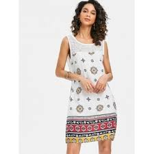 sleeveless dress 2018 sheer lace yoke sleeveless dress white xl in print dresses