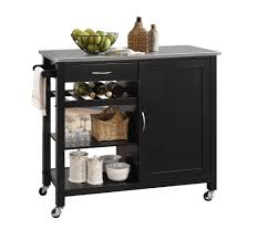 shop for carts at hhoutlets carts 445 45 1 114 00 acme ottawa kitchen island in stainless steel and black