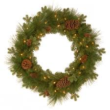 2ft pre lit eastwood spruce feel real artificial wreath