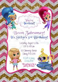 Invitation Card 7th Birthday Boy Shimmer And Shine Birthday Invitation Rayna B Day Ideas