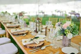 rustic country wedding table setting with ivory lace runner