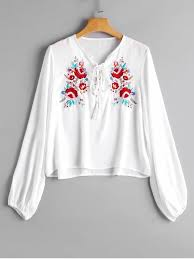 embroidered blouses lace up floral embroidered blouse white blouses s zaful