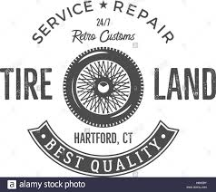 car service logo vintage label design tire service emblem in monochrome retro