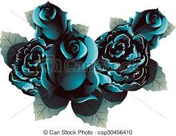 white blue roses blue roses blue flowers with leaves on white vector