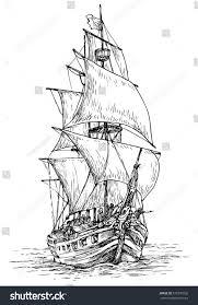 pirate ship hand drawn vector illustration stock vector 379390726