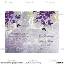 bi fold wedding program rustic leaves purple winter wedding program rustic leaves purple