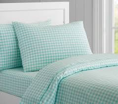 Duvet Cover Teal Organic Check Duvet Cover Pottery Barn Kids