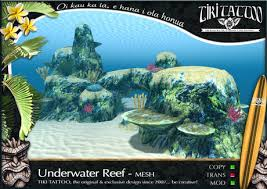second life marketplace tiki tattoo underwater coral reef mesh