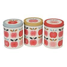 boite de cuisine boîte de cuisine en métal motif vintage pommes thé café sucre