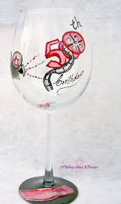 wine glass birthday custom hollywood themed 50th birthday hand painted wine glass by a