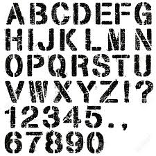 25985029 an alphabet set of grunge stencil letters and numbers