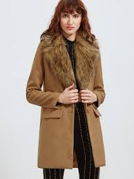 camel faux fur collar single breasted coat shein sheinside