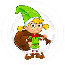 cartoon christmas elf character in green holding gift sack by