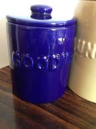 Kitchen Canisters Blue by Set Of 2 Ceramic Kitchen Canisters Blue Yellow Munchies Goodies