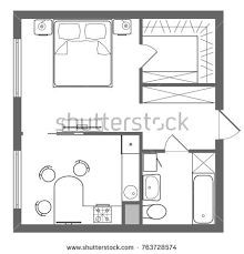 one room house floor plans floor plan studio apartment oneroom apartment stock illustration