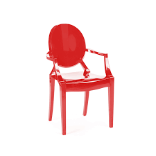 louis ghost chair red luxe modern rentals