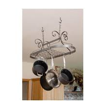 cooks standard 36 in single bar ceiling mounted wooden pot rack